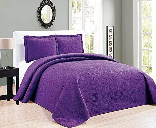 Elegant Home Beautiful Over Sized Solid Color Embossed Floral Striped 3 Piece Coverlet Bedspread (Cal-King, Dark Purple)
