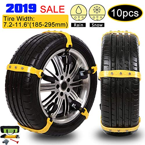 iphonepassteCK Anti-Skid Tire Chains Anti Slip Tire Chains Snow Tire Chains Automotive Passenger Vehicle Snow Chains Mud Chains for Car/SUV/Truck, Tire Width 185-295mm, Set of 10
