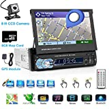 Single DIN In Dash Android Car Stereo Head Unit with 7inch Retractable Touch