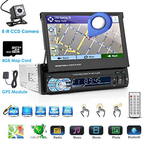 Single DIN In Dash Car Stereo Head Unit with 7inch Retractable Touch Screen  Car Monitor MP5 Player - Audio Video Receiver System with GPS