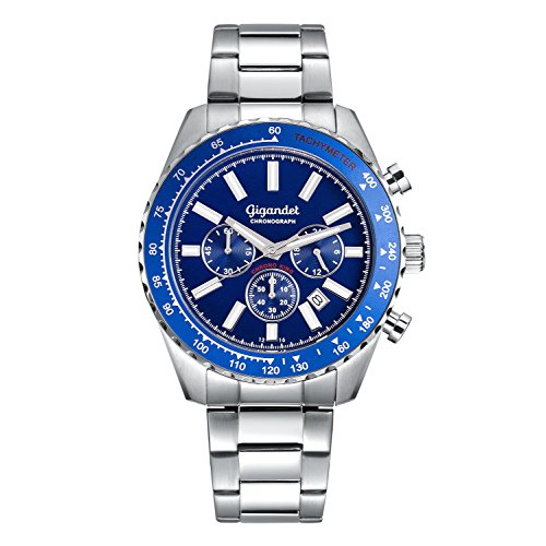 Gigandet Men's Quartz Watch Chrono King Chronograph Analogue Silver Blue G28-003