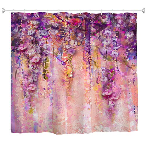 BROSHAN Watercolor Flower Shower Curtain, Pink Purple Gorgeous Weeping Flower Abstract Spring Blossom Bath Curtain Liner, Elegant Polyester Waterproof Fabric Bathroom Decor Set with Hooks,72x79 Inch