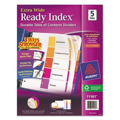 - Avery Products - Avery - Extra-Wide Ready Index Dividers, Five-Tab, 9 1/2 x 11, Assorted, 5/Set - Sold As 1 Set - Taller and wider for use with top loading 9 x 11 sheet protectors. - 2-in-1 tabs let you choose between portrait and landscape formats. - The coordinating system of Table of Contents page and matching preprinted tab dividers, makes referencing easy and professional-looking. - Three-hole punched for use in standard ring binders. -