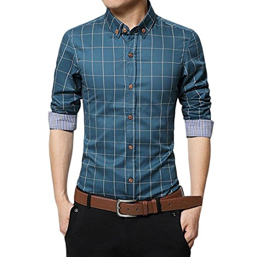 Pervobs Long Sleeve Shirts, Big Promotion! New Men's Autumn Long Sleeve Plaid Shirt Casual Social Slim Fit Formal Blouse Top (M, Blue) by Pervobs Mens Long Sleeve Shirts