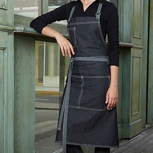 Lqchl Full Length Gray Denim Bib Apron Barista Florist Bartender Chef Workwear Baker Waiter Waitress Cafe Salon Hotel Uniform