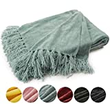 EverGrace Cozy Soft Chenille Throw Blanket with Fringe Luxury Fluffy Throw Blankets for Home Decor Traveling Camping Picnic 50x 60 Sage