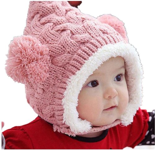 TopBlackFriday 1pcs Lovely Kid Baby Dual Balls Girl Boys Knitting Wool Keep Warm Beanie Cap Hat pink