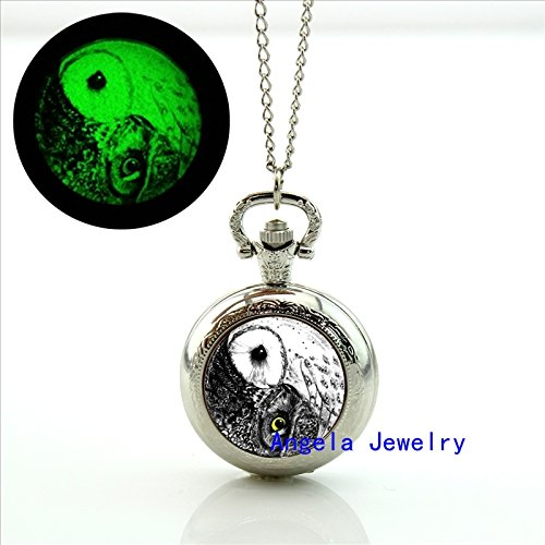 Dolce Glass Pendant (Pretty Lee Fashion Yin Yang Owl Glowing Pocket Watch Necklace Owl Glass Jewelry Glowing Necklace Pendant)