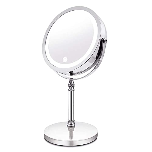 Makeup Mirror with Lights, 10X 2-Sided Magnifying Mirror with LED Lights, Touch Screen for Brightness Adjustment, 360 Rotation, Cord or Cordless