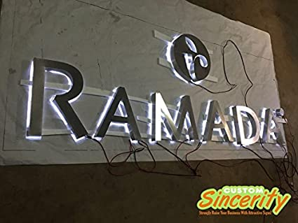 Amazon com : Outdoors Led Backlit Stainless Steel Channel Letters