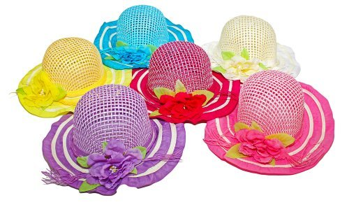 Lil Princess Girls Tea Party Princess Dress-up Colorful Costume Hats 6 Assorted Colors, Kids 2-5]()