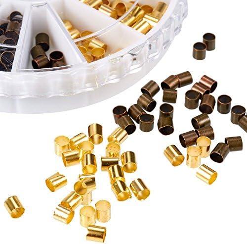 PandaHall Messing Quetschperlen Metallperlen, Gemischte Metallfarben, 3x3 mm, Bohrung: 2~2.5 mm; ca. 420 St¨¹ck/Kasten