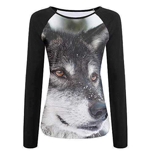 Tqx5ee Wolf Predator Eyes - Suéter de Cuello Redondo con Mangas largas para Mujer, Blanco, XXL