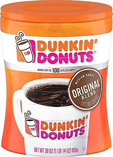 4-Pack Dunkin' Donuts Original Blend Ground Coffee, Medium Roast, 30-Ounce Canisters