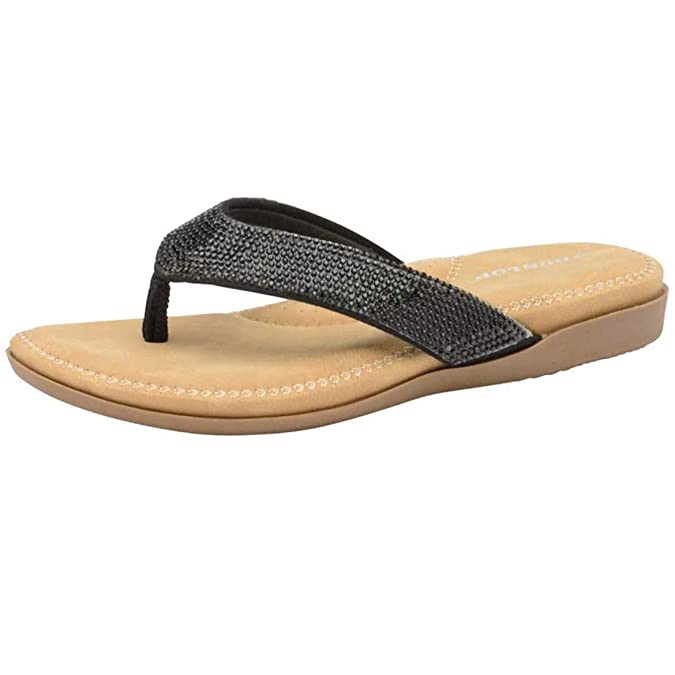 b51e8f438f3e Dunlop Womens Flip Flops New Ladies Memory Foam Toe Post Slip On Beach  Sandals  Amazon.co.uk  Shoes   Bags