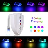 Tomshine RGB 8 Colors 2 Modes Toilet Bowl Night Light Photosensitive Sensor Motion Activated UV Germicidal Sterilization Eliminating