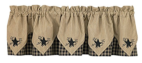 Park Designs Sturbridge Star Embroidered Point Valance, Black