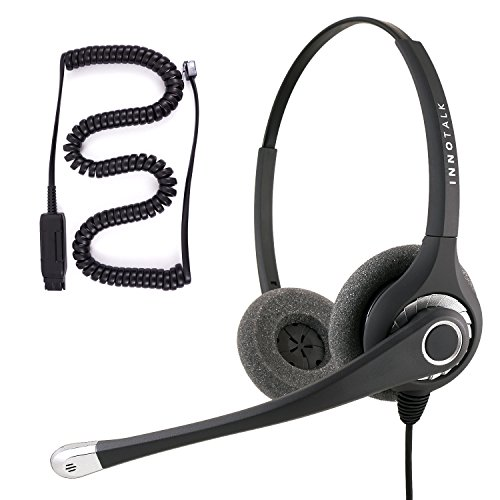 Avaya IP 1608, 1616, 9601, 9608, 9610, 9611, 9611G Sound Emphasized Binaural Noise Cancel Mic Phone Headset for Call Center, Information Desk - Gn Netcom Consumer Headphones