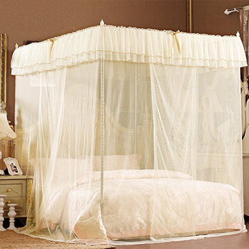 Beige lace luxury four corner square princess bed canopy for Rectangle bed canopy