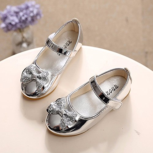 Sparkle Princess Shoes for Girls Sequin Bowknot Flat Shoes Children Velcro Shinning Shoes Mary Jane Princess Party Dress Shoes for Toddlers & Girls by DaoAG - Shoes (Image #3)