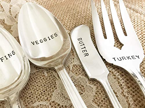 (5 piece thanksgiving serving set of hand stamped utensils, in mismatch random, BLOCK)