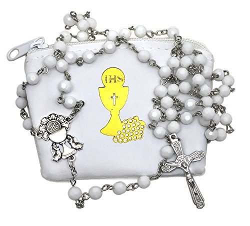 - First Communion Catholic Gift Set 6mm White Faceted Bead Woman or Girl Rosary with White Vinyl Rosary Case with Gold Chalice Accent