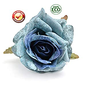 fake flowers heads Silk Flower Dahlia Rose Artificial Flower Head Wedding Decoration DIY Wreath Gift Box Scrapbooking Craft Fake Flower 7pcs (Blue) 15