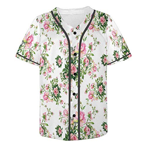 - INTERESTPRINT Men's Athletic Trainning Short Sleeve Jersey Tops Bouquet of Roses 4XL