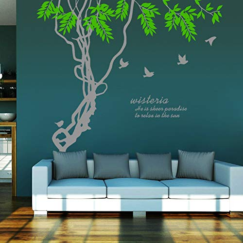 Meaosy Ivy Leaves Tree Branches Birds Wall Art Mural Decor Sticker Wisteria Wall Quote Decal Poster Home Wall Applique 188 X 210Cm