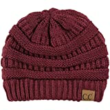 C.C Trendy Warm Chunky Soft Stretch Cable Knit Beanie Skully, Maroon