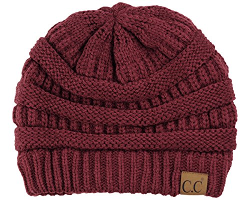 C.C Trendy Warm Chunky Soft Stretch Cable Knit Beanie Skully, Maroon ()