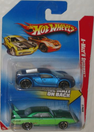 Hot Wheels 2-Pack A-Maze'N Speedway 2010 Pearl Blue Bugatti Veyron & Green Plymouth Superbird 1:64 Scale Collectible Die Cast Car Models 2010 Maze