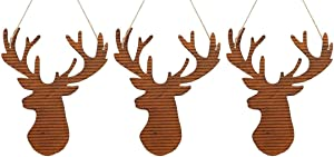 Happy Deals~ Set of 3 | Rusty Tin Deer Heads | 7.5 inch Christmas Tree Wall Decor or Wreath Accents