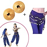 Finger Cymbals, Music Instrument Rhythm Maker Finger Cymbals Belly Dancing Gold Musical Instrument with Bellydance Hip Scarf With Gold Coins Skirts Wrap Noisy