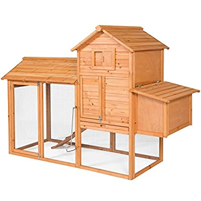 Best Choice Products 80in Wooden Chicken Coop Nest Box Hen House Poultry Cage Hutch w/ Ramp and Locking Doors - Brown from Best Choice Products