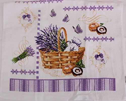 Purple Floral Basket Kitchen Decorative Dish Towel 2 Pack 15