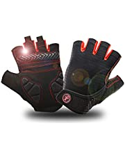 BIKINGMOREOK Breathable Mesh Women Sports Racing Shock-proof Mountain Bike Cycling Gloves Short Finger Bike Riding Cycle Bicycle Gloves for Men Women