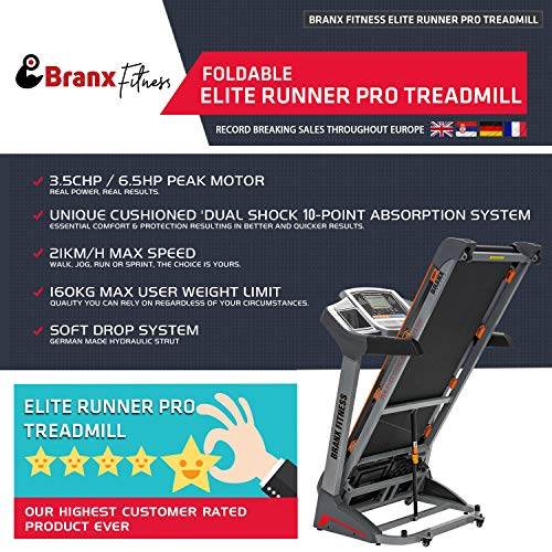 Branx Fitness Foldable 'Elite Runner Pro' Soft Drop System Treadmill -  6 5HP Motor 0-22 Level Auto Incline - 'Dual Shock 10-Point Absorption System