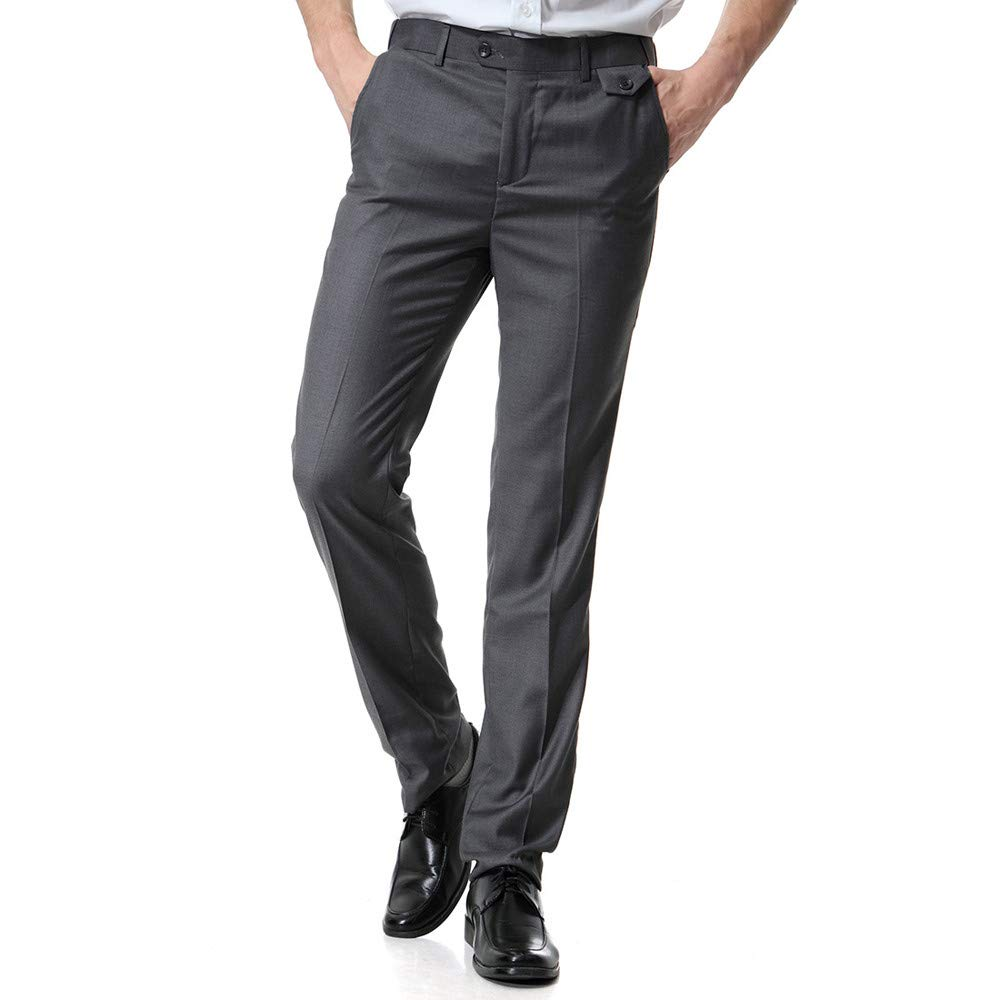 FarJing Pants Clearance Sale Men's Pocket Overalls Casual Pocket Business Casual Work Casual Trouser Pants(3XL,Dark Gray