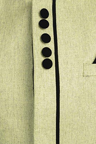 Wintage - Blazer - Uni - Col Tunisien - Manches Longues - Homme -  Vert - taille 10