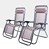 Life Carver Set of 2 Foldable Adjustable Sun lounger Folding Chair Garden Patio Chair with Pillow Weather Resistant Reclining Armrest Camping Relax Chair...