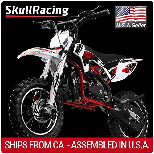 SkullRacing Gas Powered Mini Dirt Bike Motorcycle 50RR (Red) ()