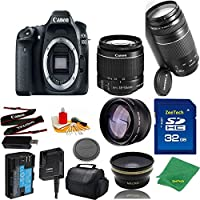 Great Value Bundle for 80D DSLR – 18-55mm STM + 75-300mm III + 32GB Memory + Wide Angle + Telephoto Lens + Case