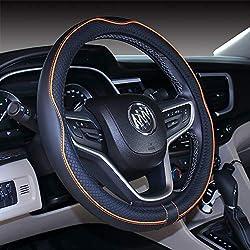 Mayco Bell Microfiber Leather Car Medium Steering wheel Cover (14.5''-15'',Black Orange)