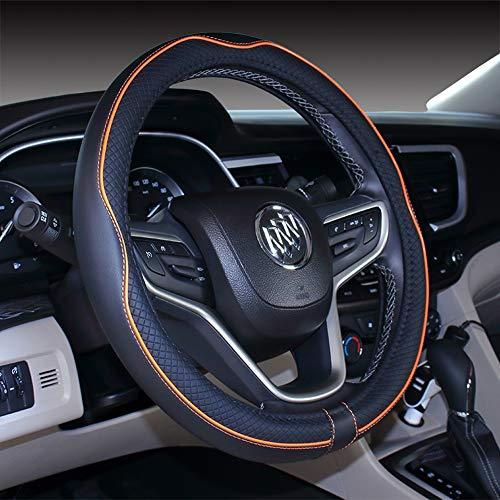 (2019 New Micro Fiber Leather Car Steering wheel Cover 15 inches (Black Orange))