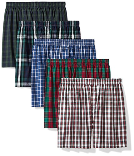 Amazon Essentials Men's 5-Pack Tagless Boxers, Assorted Plaid, Medium