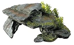 Aqua Della Stone with Plants Decoration Rock, 28.5 x 16.5 x 10.5cm, Grey