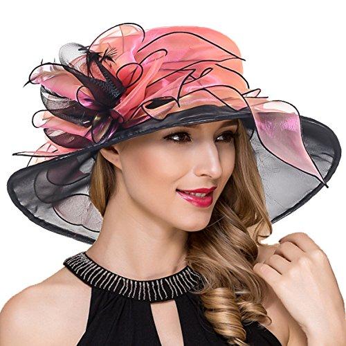 Women Organza Kentucky Derby Church Dress Fascinator Wide Brim Wedding Tea Party Hats (Floral Rose) -