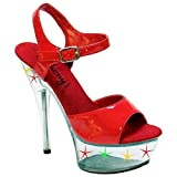 Anthony's By Tony A-600-L Exotic Pole Dancing Clubwear Stiletto 6' Platform Ankle Strap Sandal. Light Red/Patent/Clear Size 7