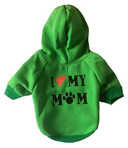 I Love My Mom Dog Hoodies,Rdc Pet Appare Winter Sweatshirt Warm Sweater, Cotton Jacket Coat for Samll Dog & Medium Dog & Cat (XS, Green)